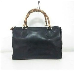 Authentic Vintage Gucci Leather and Bamboo Handbag